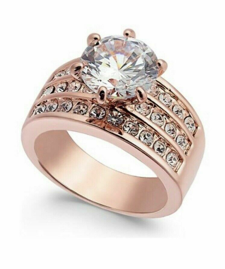 Charter Club NWT Rose Gold-Tone Crystal Triple-Row Ring In Gift Box, Size 5-9