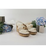 Jimmy Choo Athenia Cream Leather Cork Wedge Platform Sandals 38 8 NIB - $370.76