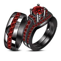 His & Hers Wedding Band Engagement Ring Trio Set Red Garnet Black GP 925 Silver - $178.99