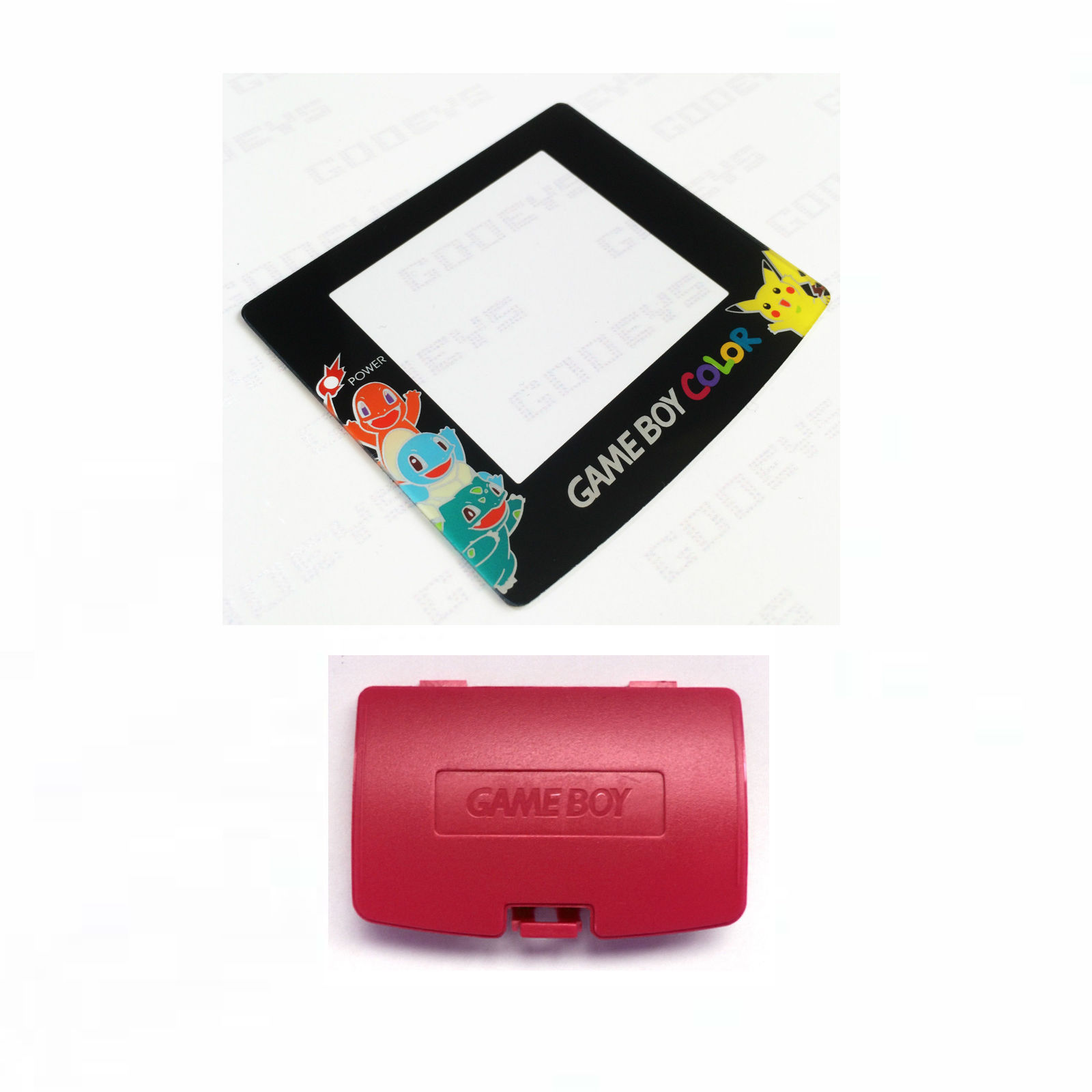 New BERRY Game Boy Color Battery Cover + Pokemon Squirtle Screen GBC