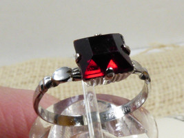 STERLING SILVER 925 KIDDIEGEM FACETED RED JANUARY B STONE CHILD'S RING S... - $29.45