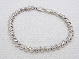 "VTG .925 Sterling Silver SU ITALY SAN MARCO Puffy Link Bracelet 7"" - $39.60"