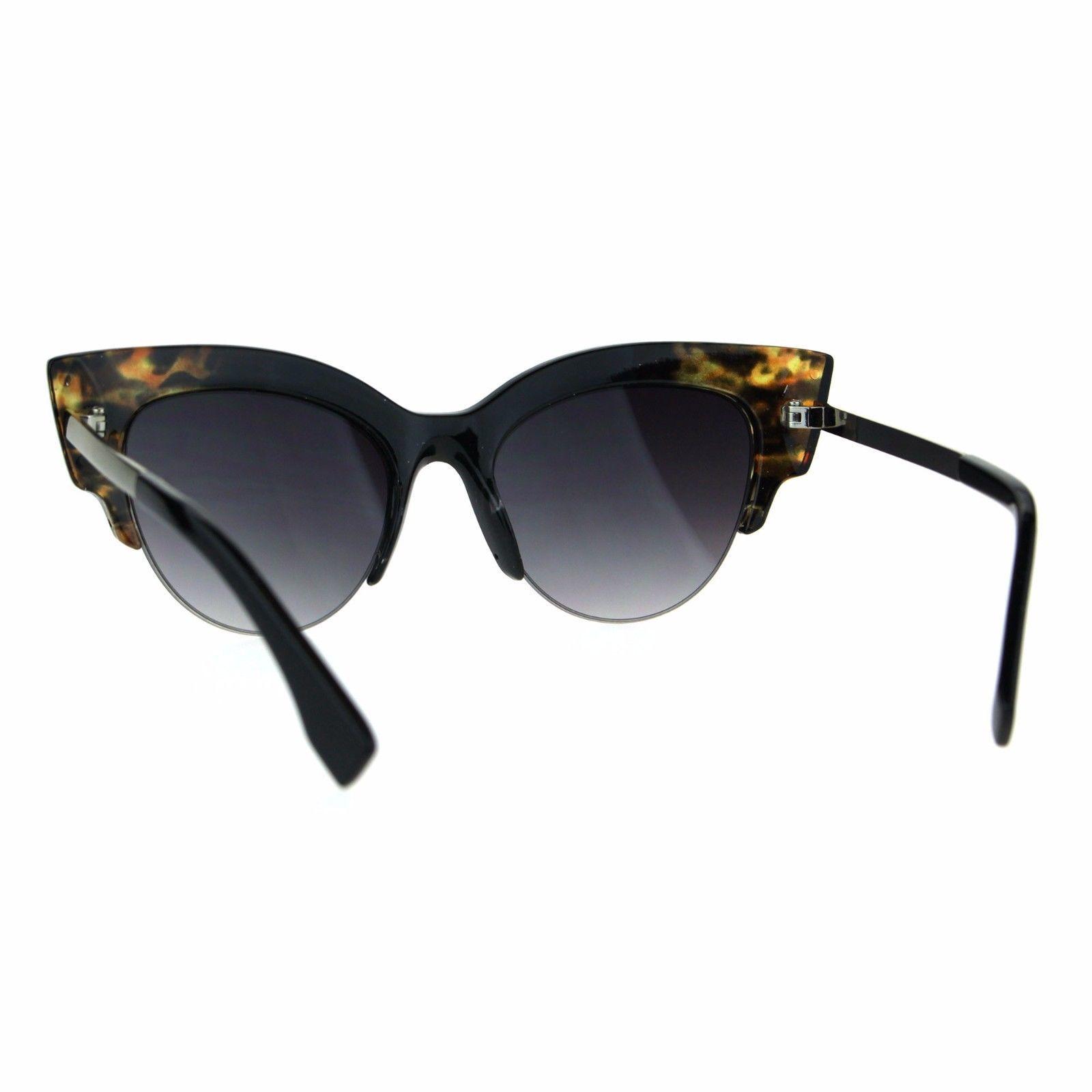 Womens Stylish Sunglasses Half Rim Cateye Fashion Shades UV 400