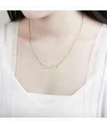 Personalized Custom Necklace Gold Stainless Steel Gift Nameplate Pendant... - $17.92+