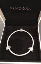 "New Authentic Pandora Bracelet 7.5"" With S Swirls Clips And Pandora Box - $89.99"