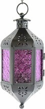 Nice Purple Moroccan Style Candle Lantern Light Glass Decor Hanging Lamp... - £28.36 GBP