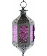 Nice Purple Moroccan Style Candle Lantern Light Glass Decor Hanging Lamp... - $39.00