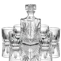 TkGoods 7 PCS Italian Crafted Glass Decanter & Glasses Set, with Stopper