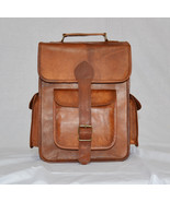 New Men's Vintage Rustic Leather Backpack Rucksack Shoulder Laptop Messe... - $88.53