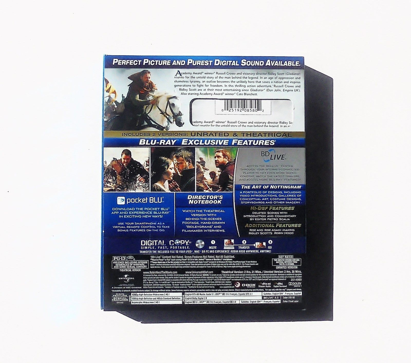 Robin Hood: Unrated Director's Cut (2010) ~ Blu-Ray + DVD ~ Used