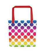 Large Rainbow Polka Dots Tote bag - £17.25 GBP
