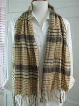 Scarf Shawl Cashmink by V.Frass Beige Brown Plaid w Fringe Super Soft 11... - $9.99