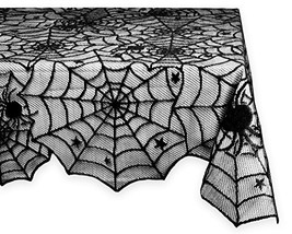 """DII 54x72"""" Rectangular Polyester Lace Tablecloth, Black Spider Web - Per... - $14.17"""