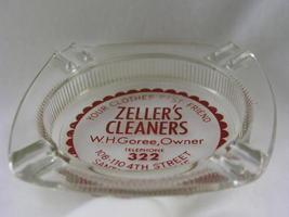 Vintage Glass Ash Tray Early 1950s Zellers Cleaners - $10.75