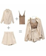 Trytree Summer Autumn Women Three piece sets Casual Linen Plaid Tops + S... - $35.99