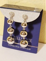Estate Sale - NWT BRILLIANCE White Swarovski Crystal Silver Ball Dangle ... - $24.97