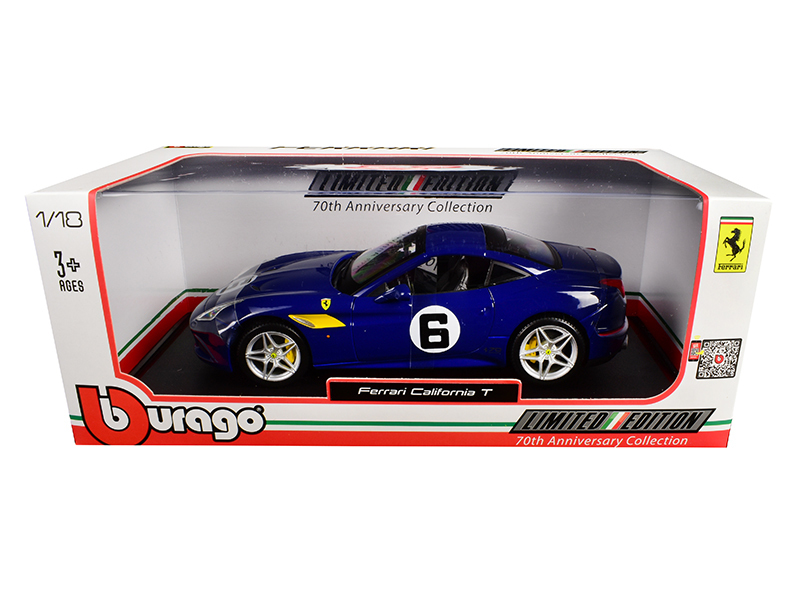 "Ferrari California T Blue ""Sunoco\"" #6 70th Anniversary 1/18 Diecast Model Car"