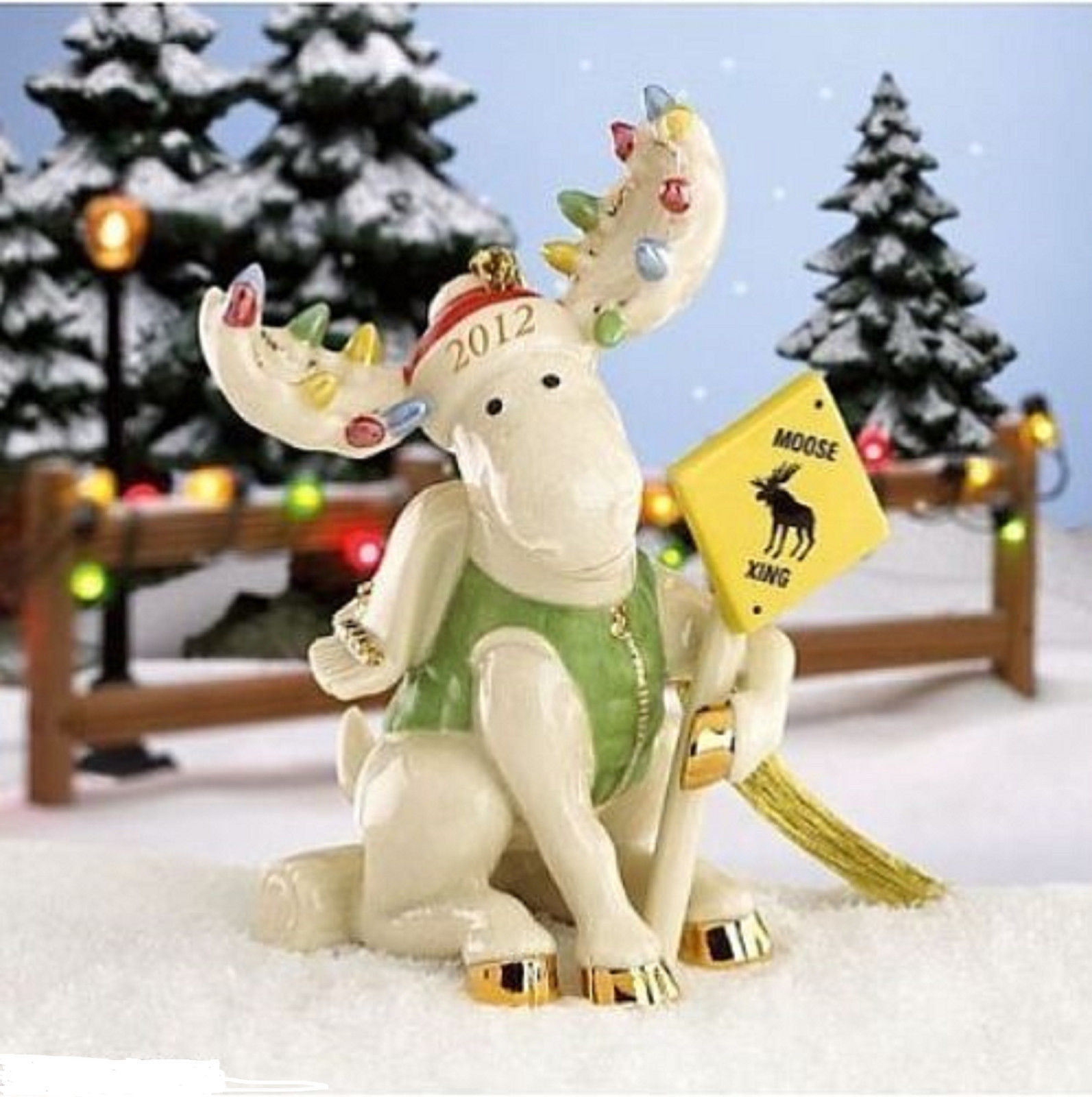 Lenox 2012 Moose Marcel Ornament Annual Merry Moose Crossing Caution Sign NEW