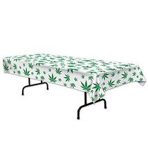 """Beistle 59880 Tropical Fern Leaf Tablecover, 54"""" x 108"""", White/Green - $10.55"""