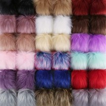 Auihiay 36 Pieces Colorful Faux Fur Pom Poms Balls With Elastic Loop Fur... - $23.75