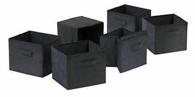 Black 6 Foldable Fabric Laundry Storage Baskets w/ Side Handles Bin Organization