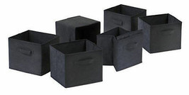 Black 6 Foldable Fabric Laundry Storage Baskets w/ Side Handles Bin Orga... - $43.49