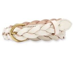 Fossil BELT Skinny Braid Leather Large Vanilla White Gold Hardware - ₹2,063.26 INR