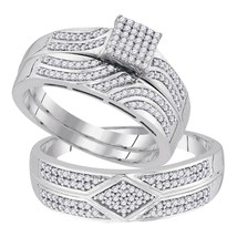 10k White Gold His Hers Diamond Square Cluster Matching Bridal Wedding Ring Set - $764.92