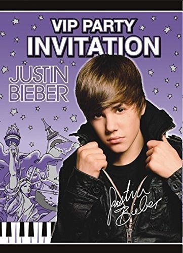 Justin Bieber Invitations w/ Env. (8ct)