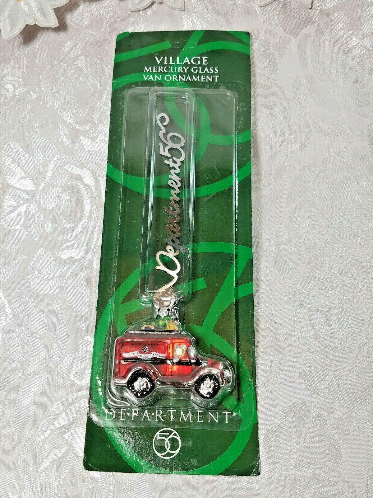 Dept 56 Village Mercury Glass Ornament Red Village Express Van NEW 2001