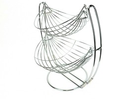 Countertop Double-Tier Hanging Fruit Basket, Chromed Wire, Hammock Style... - $14.65