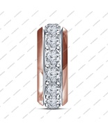 925 Sterling Silver Round Cz Single Core Bead Fits Pandora Bracelet Silv... - $34.92