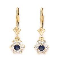 Women/Children's 14K Gold Sapphire September Birthstone Flower Dangle Earrings - $89.38