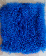 Two Sides Real Tibetan Mongolian Lamb Fur Pillow Cushion Cover Case Blue... - $63.99+