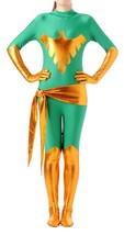 Shiny Metallic Phoenix Unitard Bodysuit Catsuit Zentai Suit for Women Green - $39.99