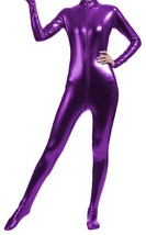 Unisex Shiny Metallic Full Body Unitard Catsuit Zentai Suit Purple - $39.99