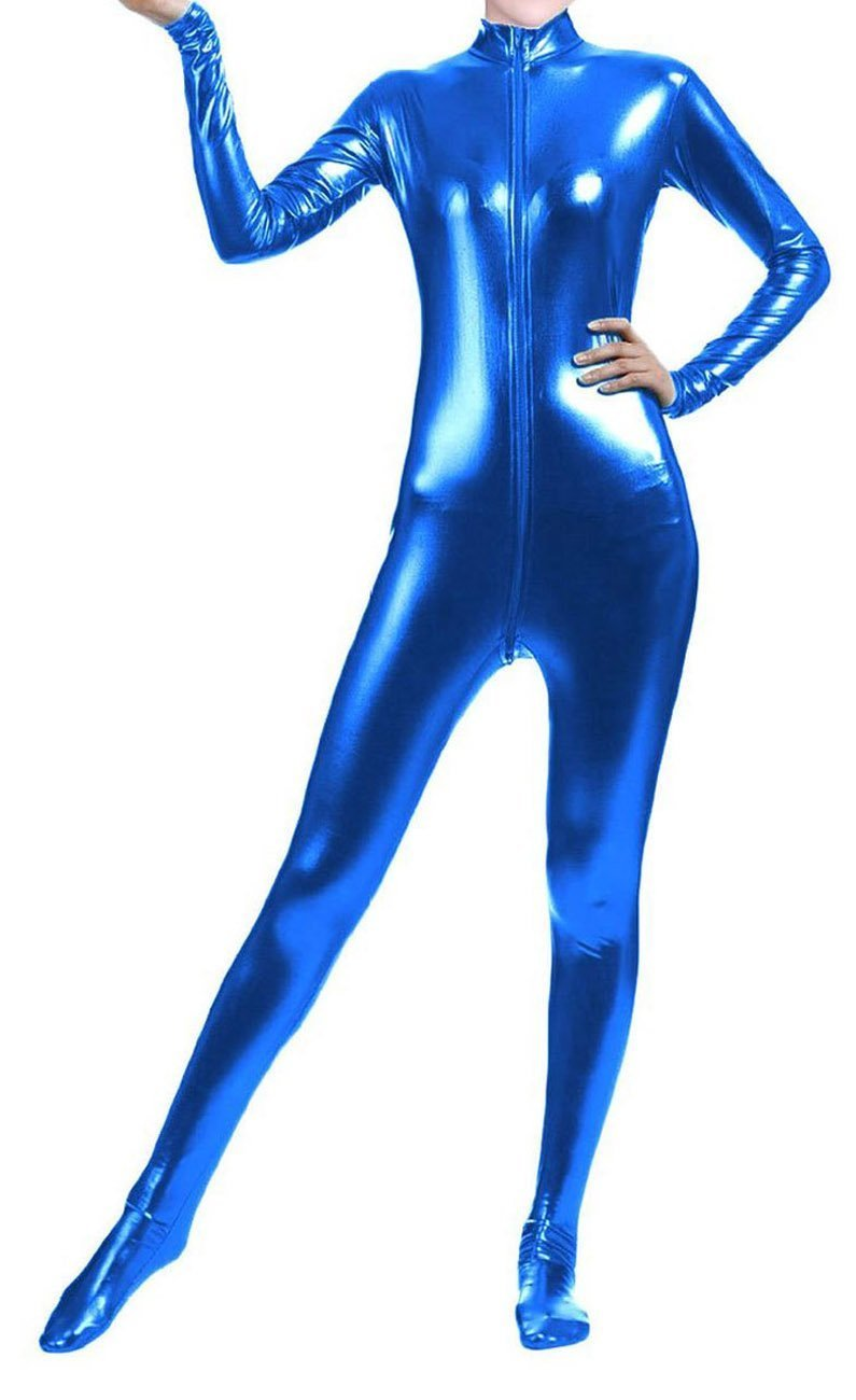 Unisex Shiny Metallic Full Body Unitard Catsuit Zentai Suit Blue