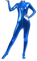 Unisex Shiny Metallic Full Body Unitard Catsuit Zentai Suit Blue - $39.99