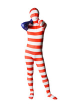 Full Body American flag Lycra Spandex Zentai Suit Halloween Unitard - $39.99