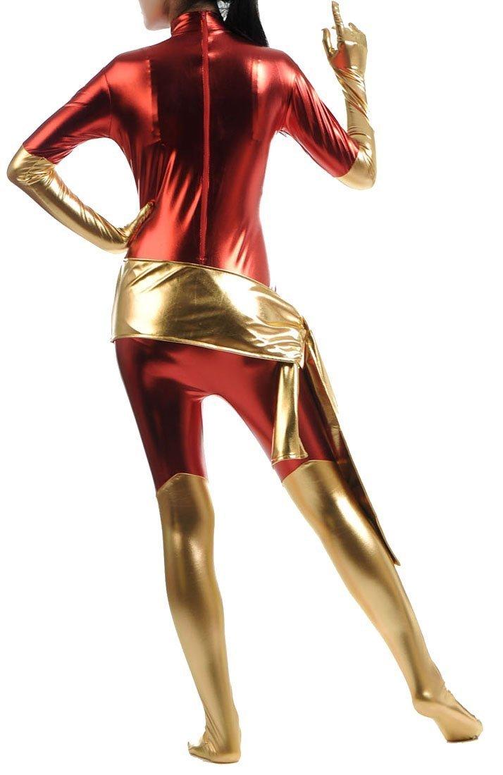 Shiny Metallic Phoenix Unitard Bodysuit Catsuit Zentai Suit for Women Red