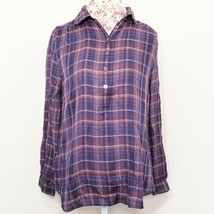 Ann Taylor LOFT Purple Plaid 1/2 Button Top Women's Size Large Petite - $6.92