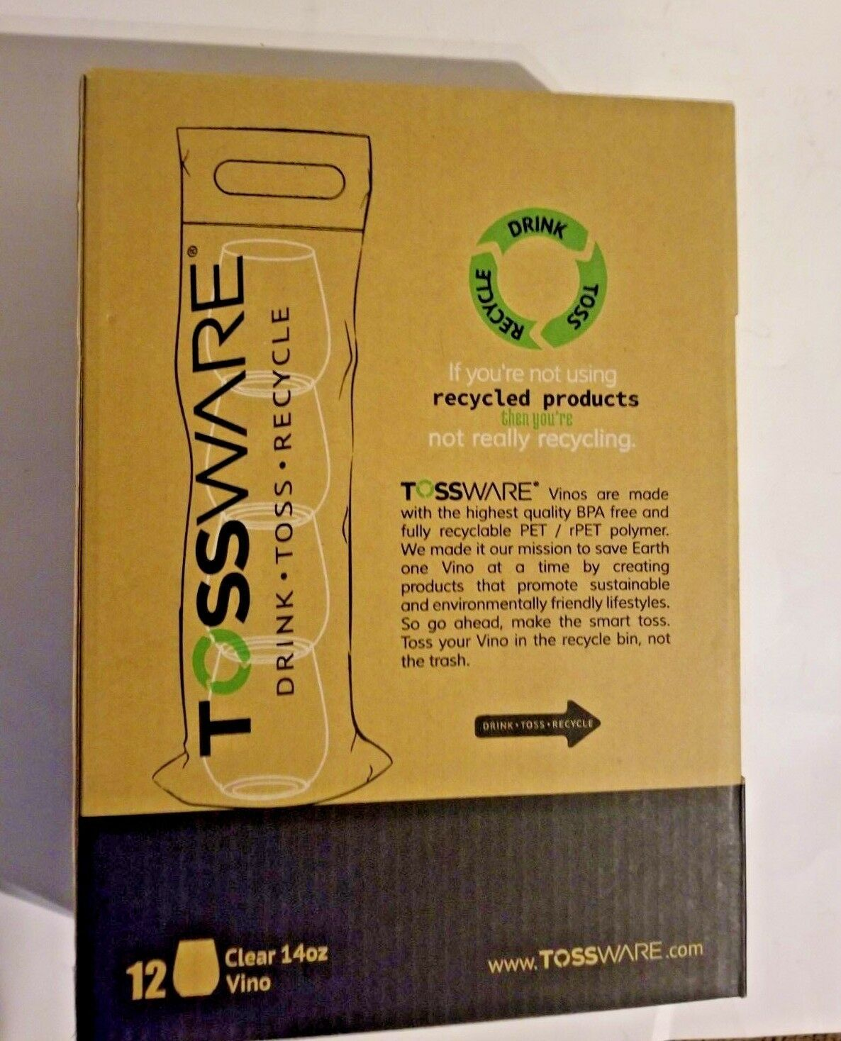TOSSWARE 14oz Vino - Recyclable Wine Plastic Cup -SET OF 12 - Drink-Toss-Recycle image 3