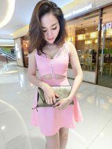 pf118 Cutie halter swing dress w rhinestones & keyholes front, free size... - $18.80