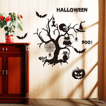 Salse Halloween Wall Sticker Skull Tree Bat Pumpki Background Decorative Sticker - $12.86