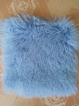 Blue Real Tibetan Lamb Fur Pillow Decorative Throw Cushion Cover Pillowc... - $32.99+