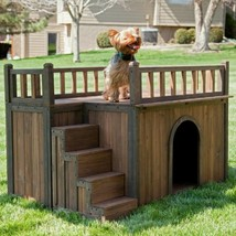 Dog House Pet Wood Kennel Small Shelter Deck Raised Floor Staircase Outd... - $136.71