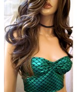 Sexy Beautiful Green Mermaid Scale Tube Top, Sexy Crop Tops, Black Swimw... - $27.99