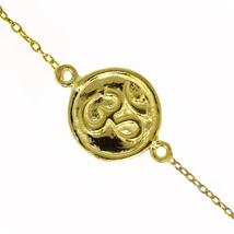 """""""OM"""" design silver bracelet 925 sterling silver gold plated bracelet jew... - $11.99"""