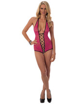 LACE UP OPEN CROTCH HALTER TIE TEDDY HOT PINK WITH BLACK TRIM - $19.99