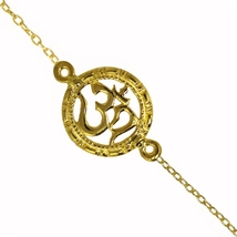 "Classic design ""OM"" bracelet 925 sterling silver gold plated bracelet jewelry SH - $10.39"